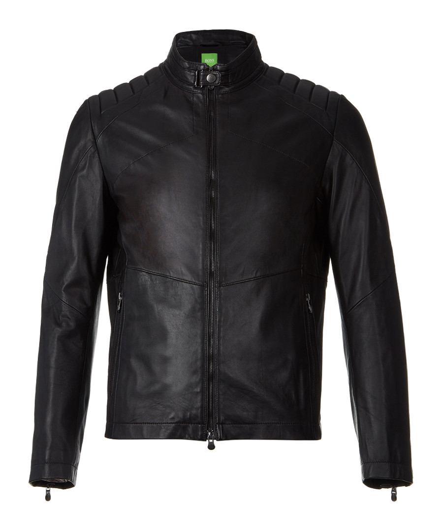 Black pure lamb leather zip up coat Sale - Boss By Hugo Boss