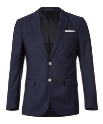 Navy pure wool button blazer