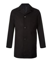 Black cotton blend 3 button coat