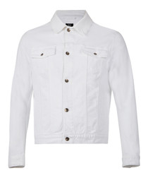 White cotton blend button up jacket