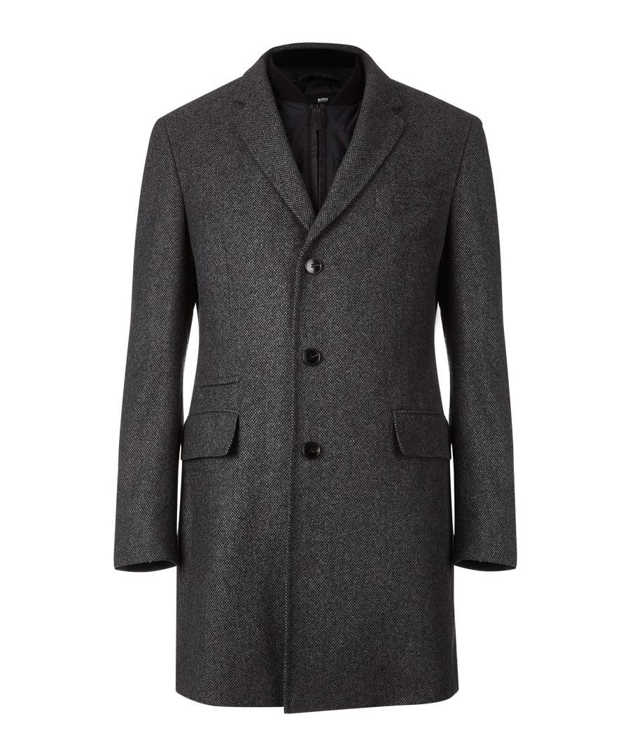 Pastel grey wool blend 3 button coat Sale - Boss By Hugo Boss