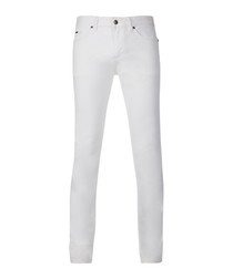 White cotton blend skinny trousers