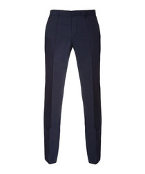 Dark blue pure wool formal trousers