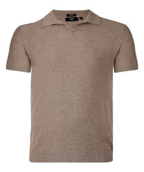 Beige cotton blend polo shirt