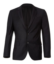 Black wool blend 2 button blazer