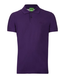 Dark purple pure cotton polo shirt