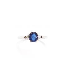 1.00ct sapphire & trillion diamond ring