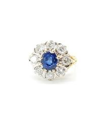 2.50ct sapphire & diamond gold ring