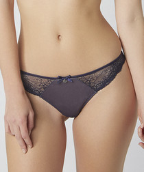 Annette navy lace thong