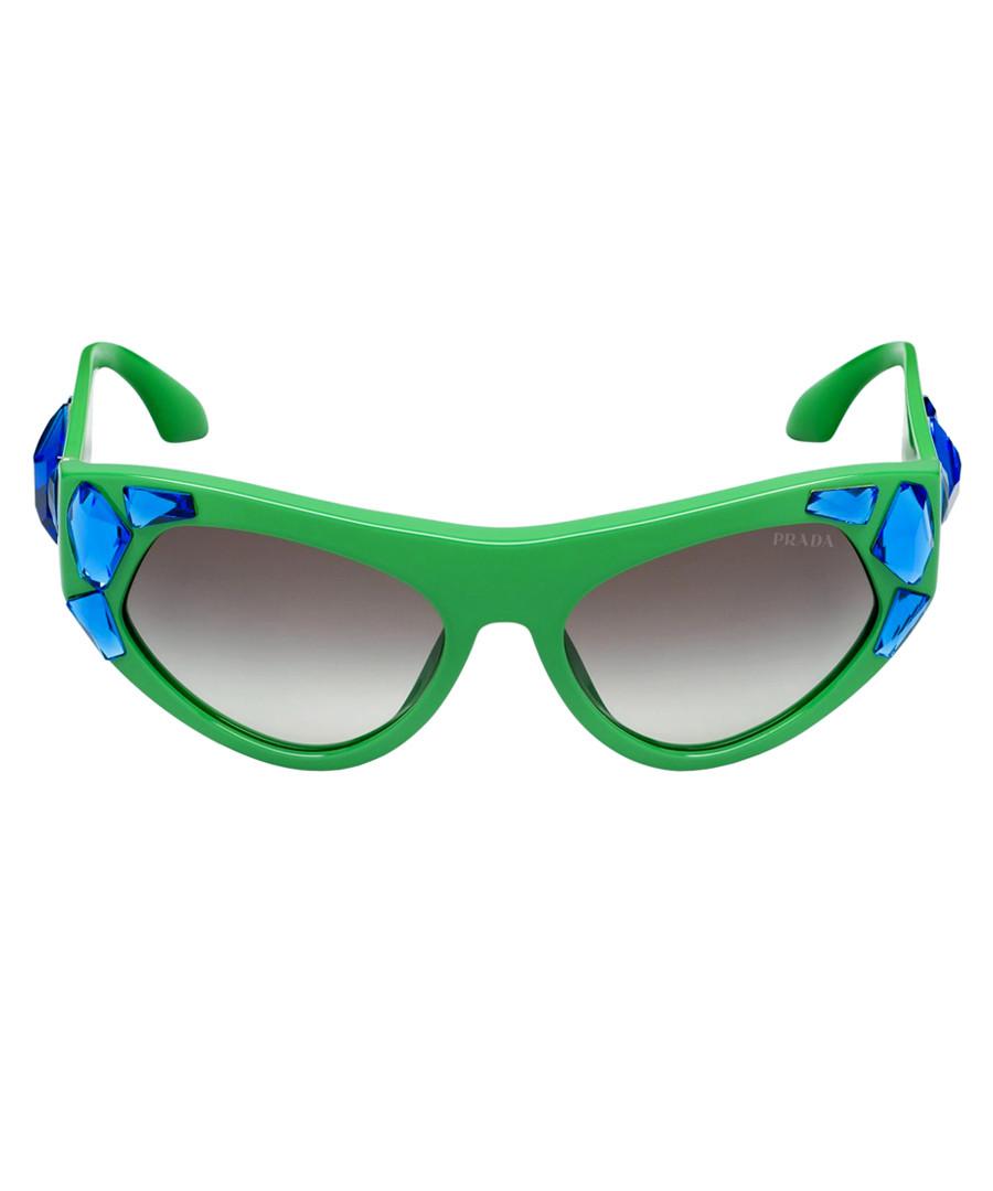 Green & blue crystal goggle sunglasses Sale - Prada