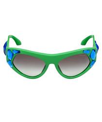 Green & blue crystal goggle sunglasses
