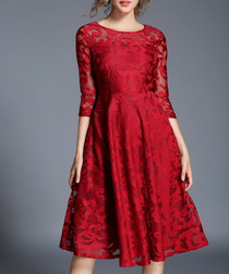 Crimson half-sleeve floral dress