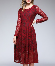 Wine red pattern long sleeve dress