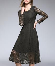 Green pattern long sleeve dress