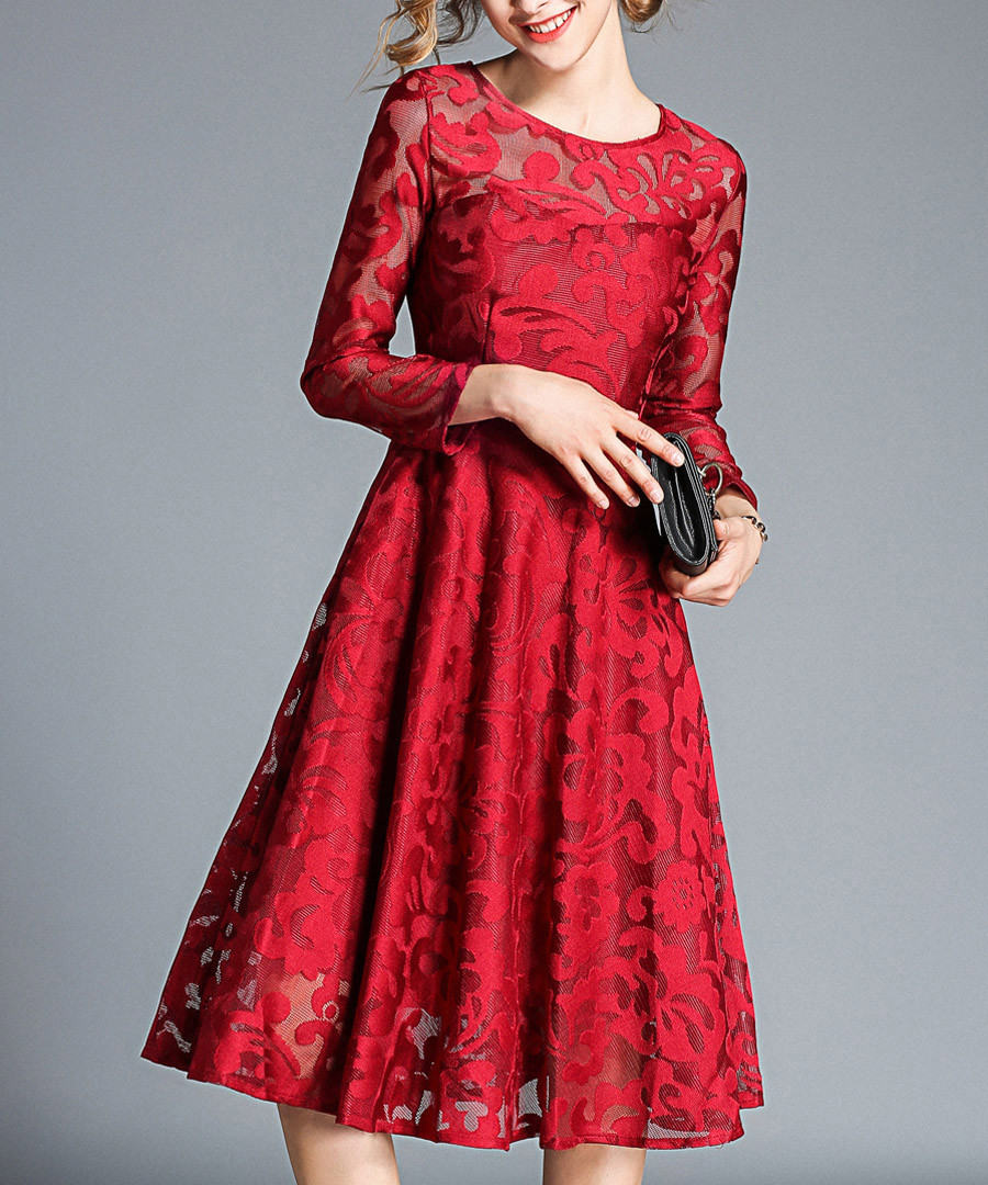 Wine red long sleeve floral dress Sale - Kaimilan
