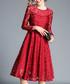 Wine red long sleeve floral dress Sale - Kaimilan Sale