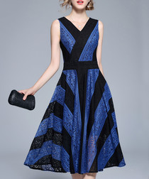 Blue & black stripe sleeveless dress