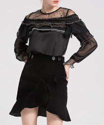 Black ruffle sheer long sleeve blouse