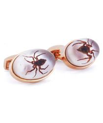 Rose gold-tone spider cufflinks