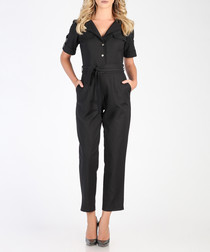 Black button cotton blend jumpsuit
