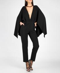 Black plunge cape jumpsuit