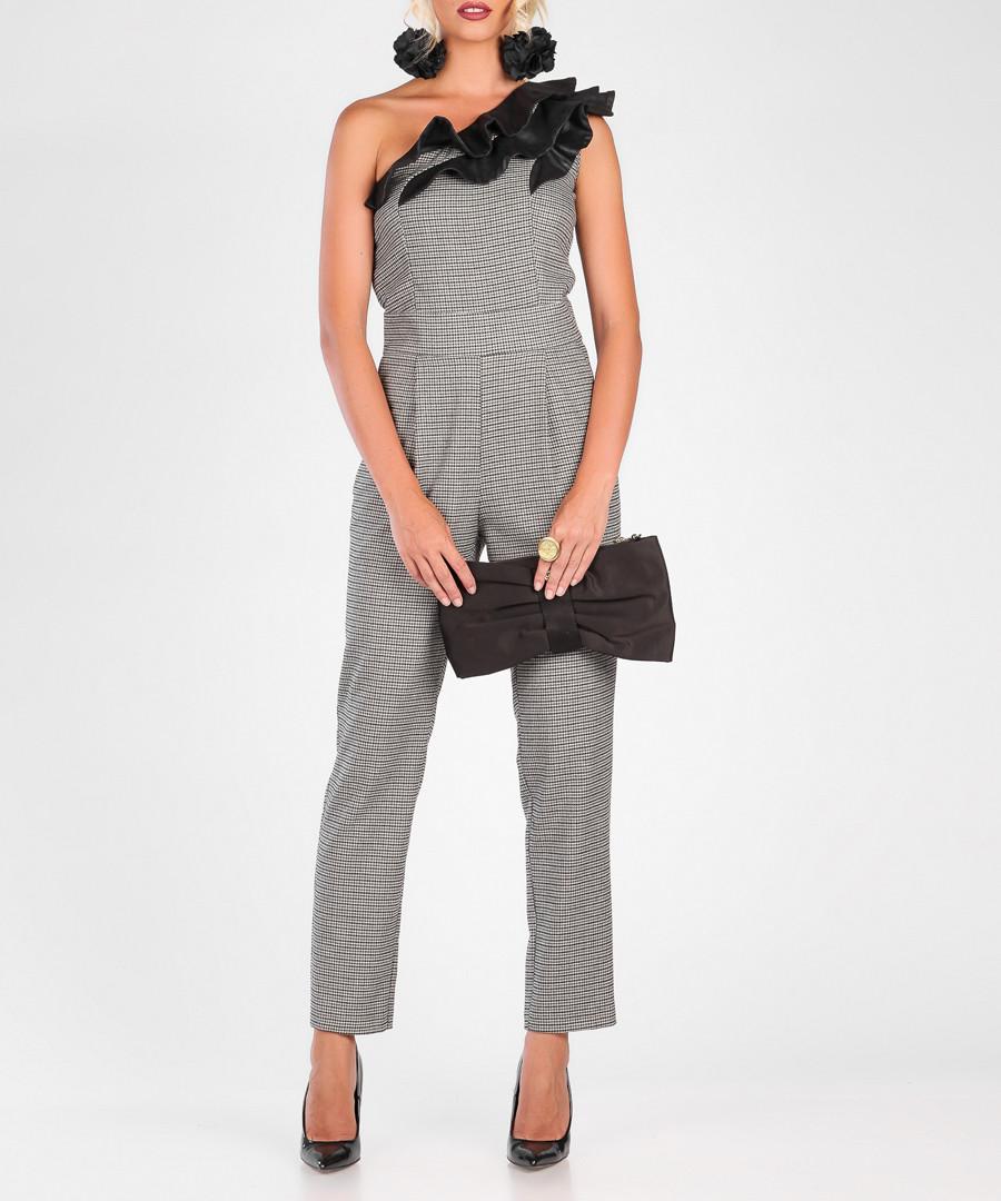 Grey & black one shoulder jumpsuit Sale - marmuri