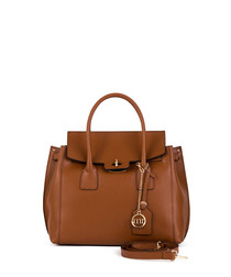 Tan leather flap grab bag