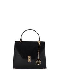 Black leather flap grab bag
