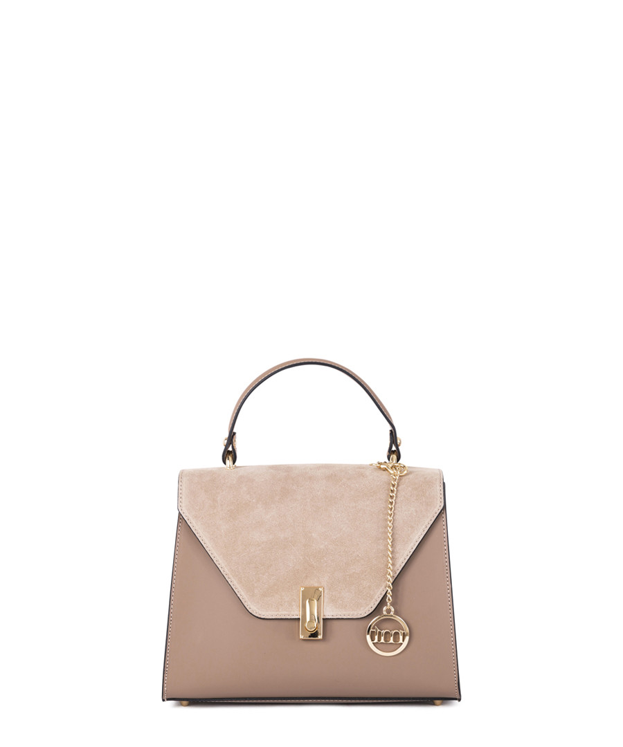 Light taupe leather flap grab bag Sale - mia tomazzi