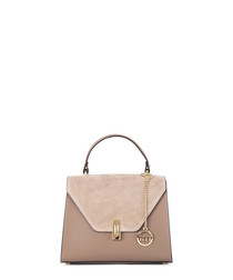 Light taupe leather flap grab bag