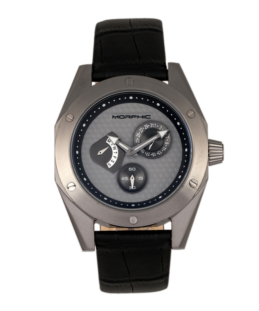 M46 black leather & gunmetal steel watch Sale - morphic
