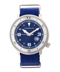 M58 blue leather & stainless steel watch