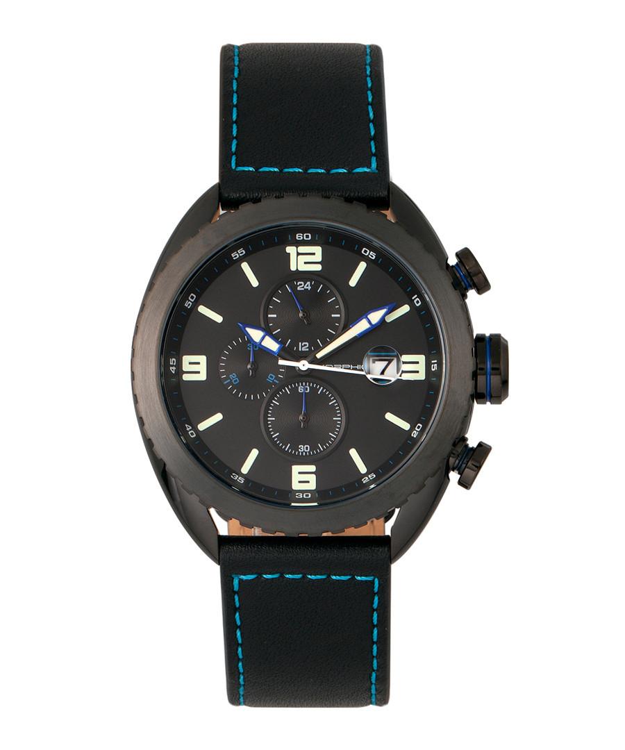 M64 black steel & leather watch Sale - morphic
