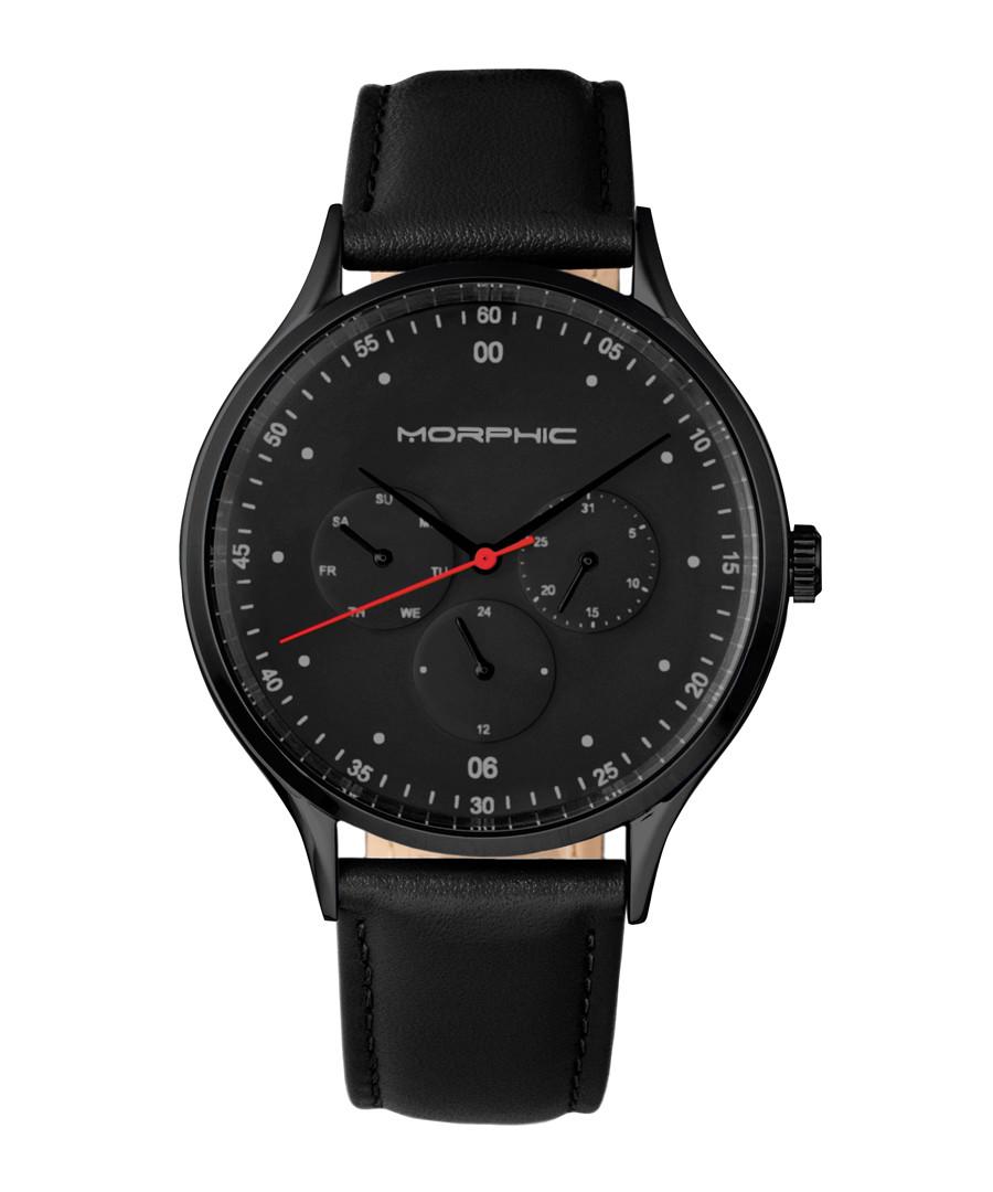 M65 black steel & leather watch Sale - morphic