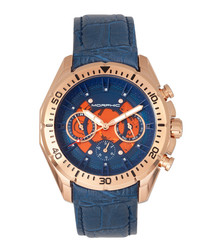 M66 rose blue leather & steel watch
