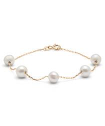 0.6cm white pearl & gold-plated bracelet