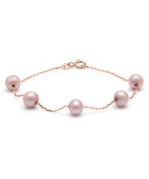 0.6cm pink pearl & rose gold bracelet