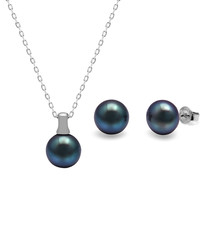 2pc 0.8cm peacock pearl & sterling set