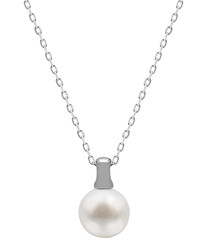 1cm white pearl & sterling necklace