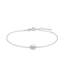 0.725cm white pearl & sterling bracelet