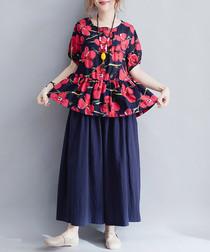 blue cotton blend blouse