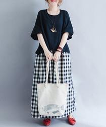 black cotton blend blouse