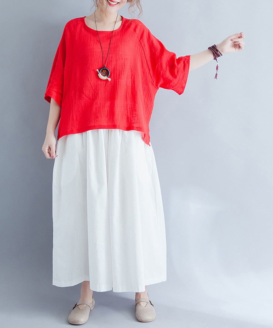 red cotton blend blouse Sale - Xinyi Apparei
