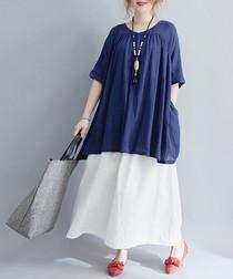 royal blue cotton blend blouse