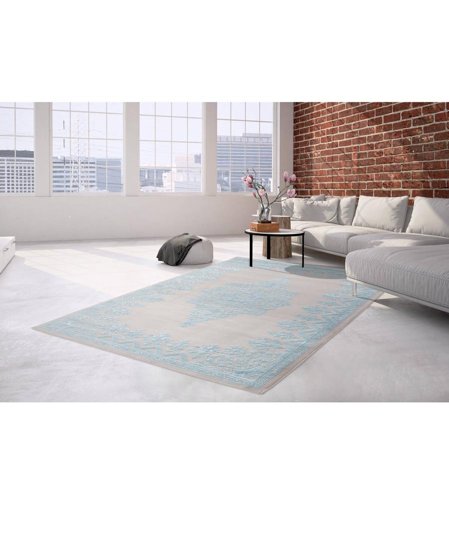 Palast 100 silver & blue rug 200x290cm Sale - pierre cardin