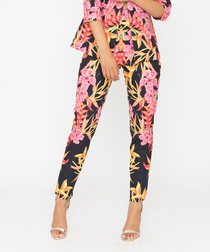 Multi-coloured tropical formal trousers