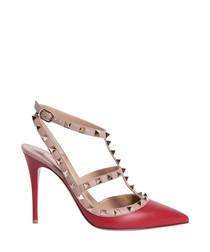 Red leather rockstud ankle strap pumps