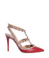 Red leather rockstud ankle strap pumps Sale - valentino Sale