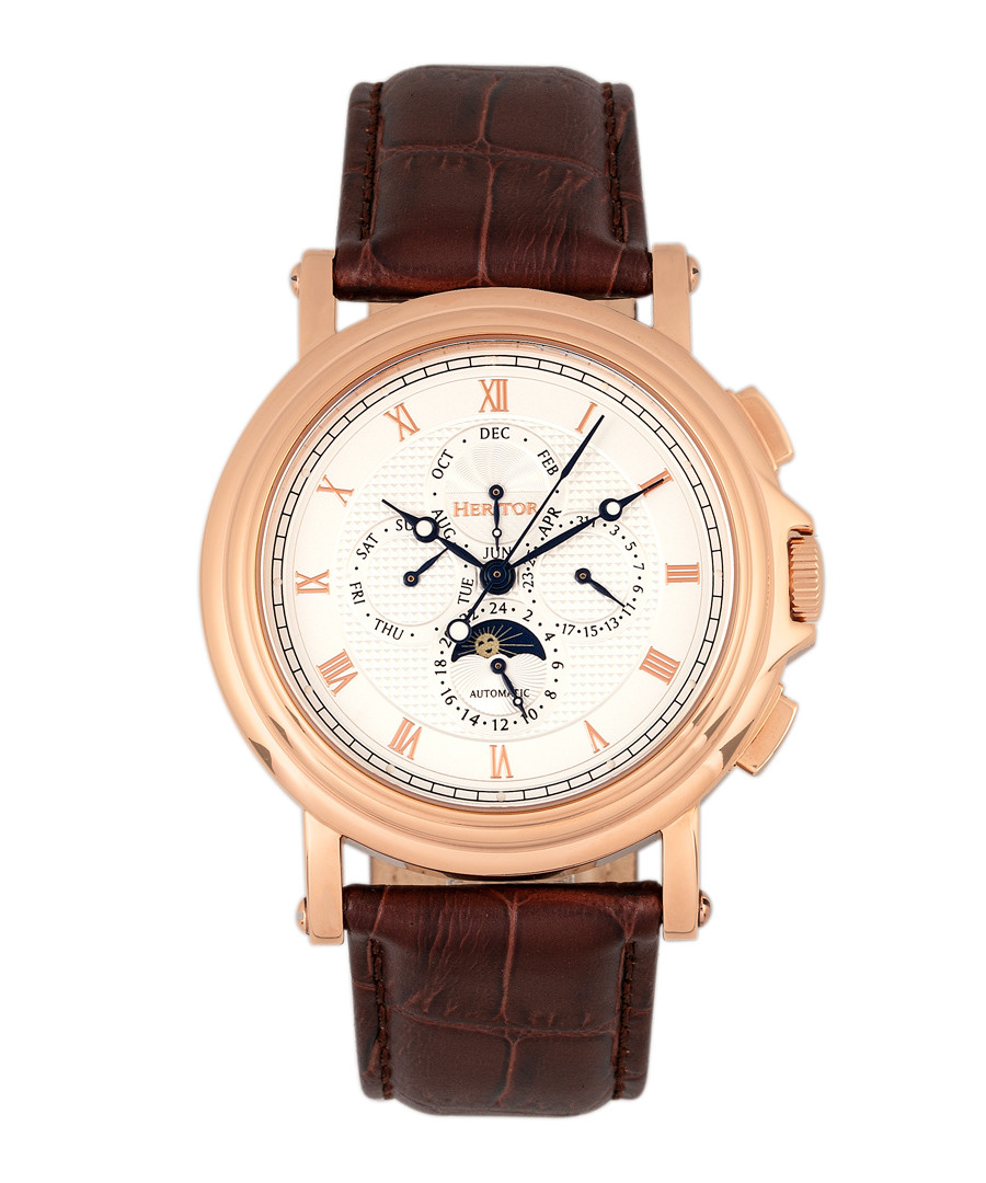 Kingsley brown leather watch Sale - heritor automatic