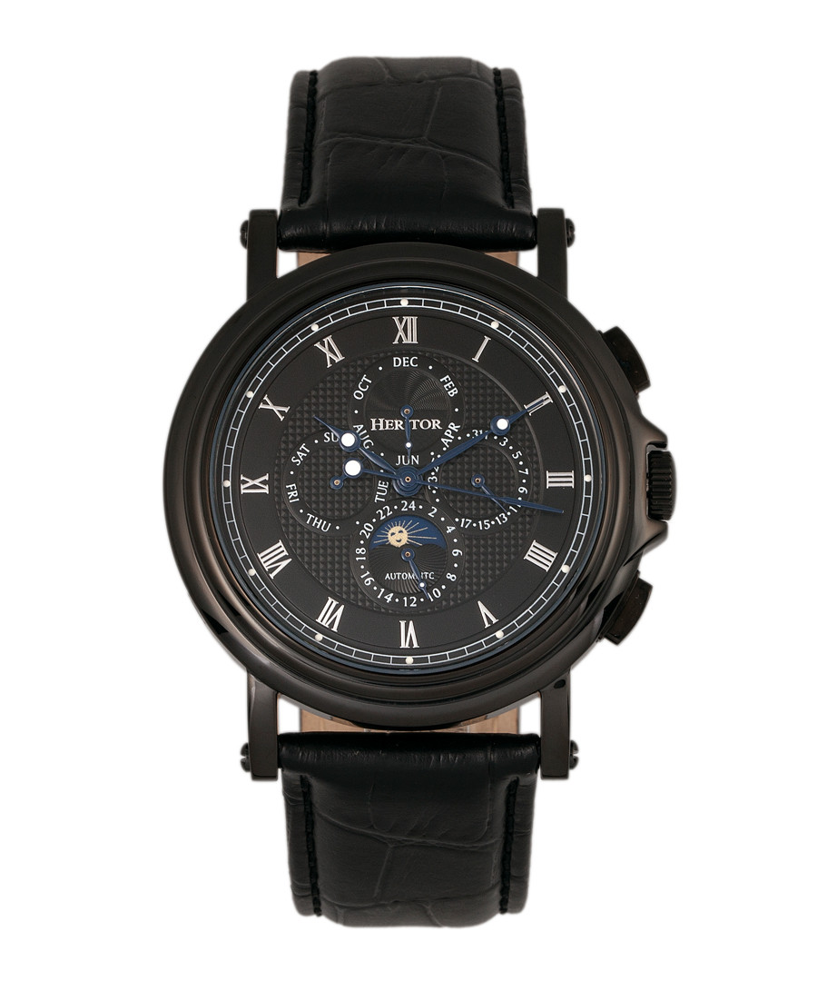 Kingsley black leather watch Sale - heritor automatic